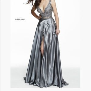 SHERRI HILL 2 piece gunmetal Prom Dress 6